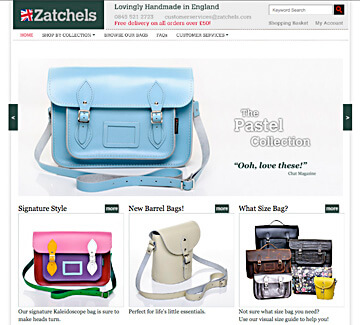 Home page of the Zatchels online boutique